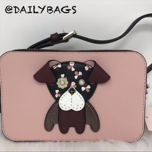KATE SPADE DOG PUP DOUBLE ZIP CROSSBODY CHERRYWOOD